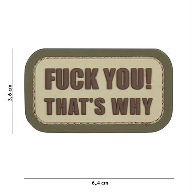 101 inc - Patch 3D PVC Fuck you that's why coyote