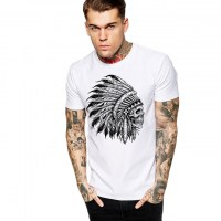Fifty5 Clothing - Chief Skull Black & White Men's T Shirt - White