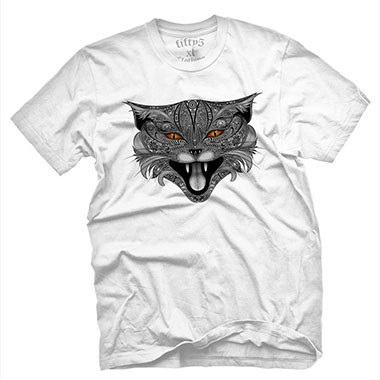 Fifty5 Clothing - Lucifer Mad Cat Men's T Shirt - White