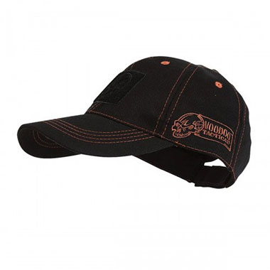 Voodoo Tactical - Classic Cap with Removable Flag Patch - Black with red Stitching
