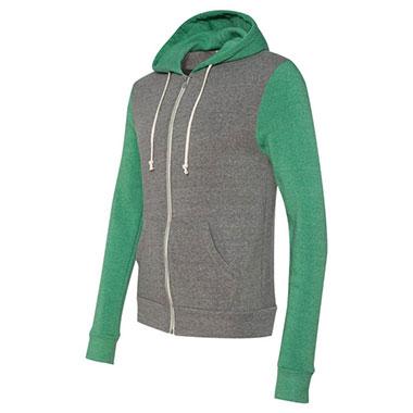 Alternative - Rocky Unisex Colorblocked Eco-Fleece Hooded Full-Zip - Eco Grey/ Eco True Green