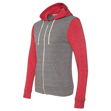Alternative - Rocky Unisex Colorblocked Eco-Fleece Hooded Full-Zip - Eco Grey/ Eco True Red
