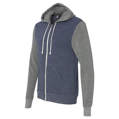 Alternative - Rocky Unisex Colorblocked Eco-Fleece Hooded Full-Zip - Eco True Navy/ Eco Grey