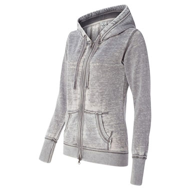 J. America - Women's Zen Fleece Full-Zip Hooded Sweatshirt - Cement