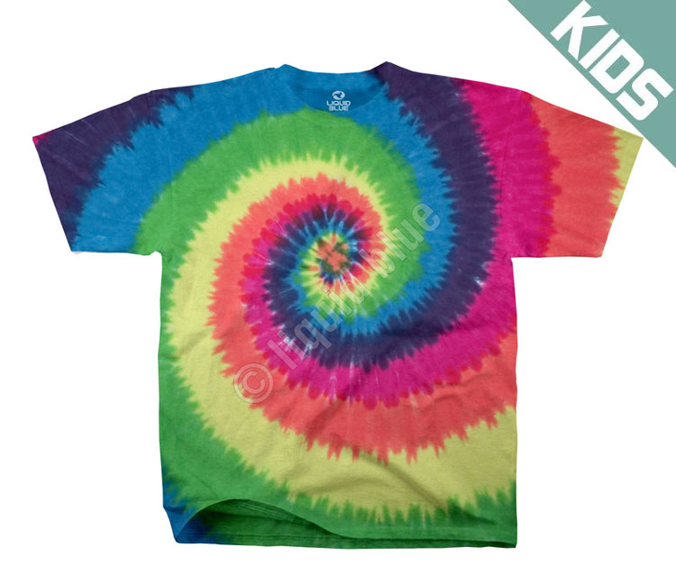 Детская футболка Liquid Blue - Rainbow Spiral Youth Tie-Dye T-Shirt