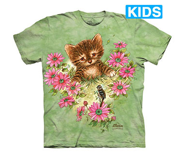 The Mountain - Curious Little Kitten Kids T-Shirt