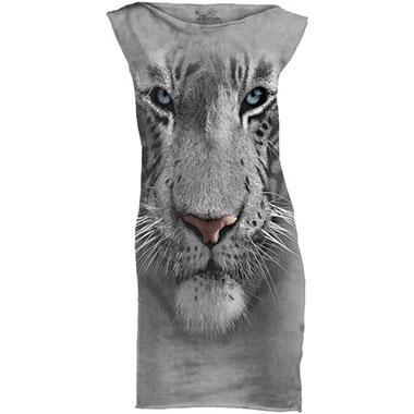 The Mountain - White Tiger Face T-Shirt Mini Dress
