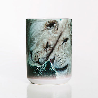 The Mountain - White Lions Love Ceramic Mug