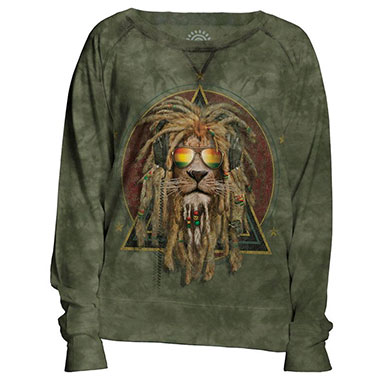The Mountain - DJ Lion Retro Women's Pullover Slouchy Crew