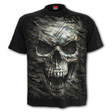 Spiral Direct - CAMO-SKULL - T-Shirt Black