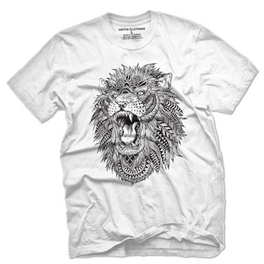 Fifty5 Clothing - Roaring Lion Illustration Men's T Shirt - White