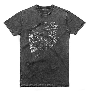 Fifty5 Clothing - Native Indian Skull Men's Stone Wash T Shirt - Black Wash