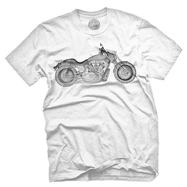 Fifty5 Clothing - Wireframe V-Rod Motorcycle Men's T Shirt - White