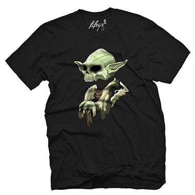 Fifty5 Clothing - Skull Master Jedi Yoda Men's T Shirt - Black