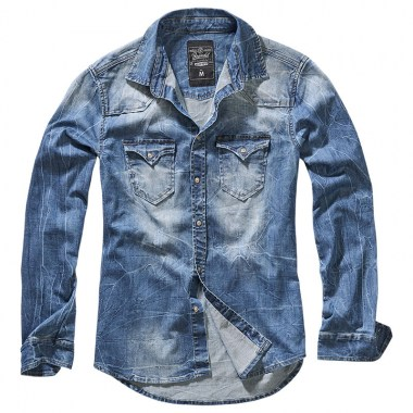 Brandit - Riley Denim Shirt - Denim Blue