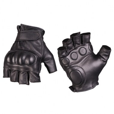 Sturm - Black Leather Tactical Fingerless Gloves