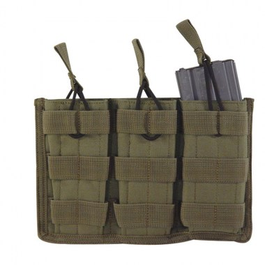 Voodoo Tactical - M4/M16 Open Top Mag Pouch w/ Bungee System Triple - OD Green