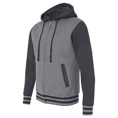 Independent Trading Co. - Unisex Varsity Full-Zip Hooded Sweatshirt - Gunmetal Heather/ Charcoal Heather