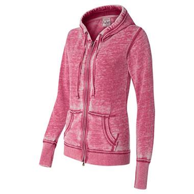 J. America - Women's Zen Fleece Full-Zip Hooded Sweatshirt - Wildberry