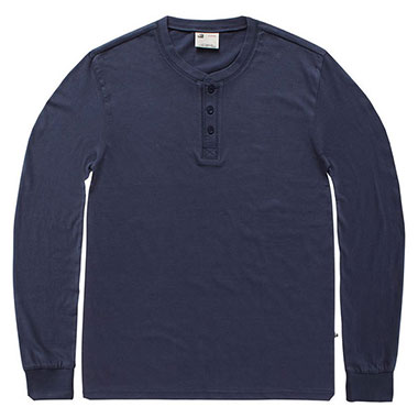 Vintage Industries - Shoreline long sleeve henley shirt - Midnight